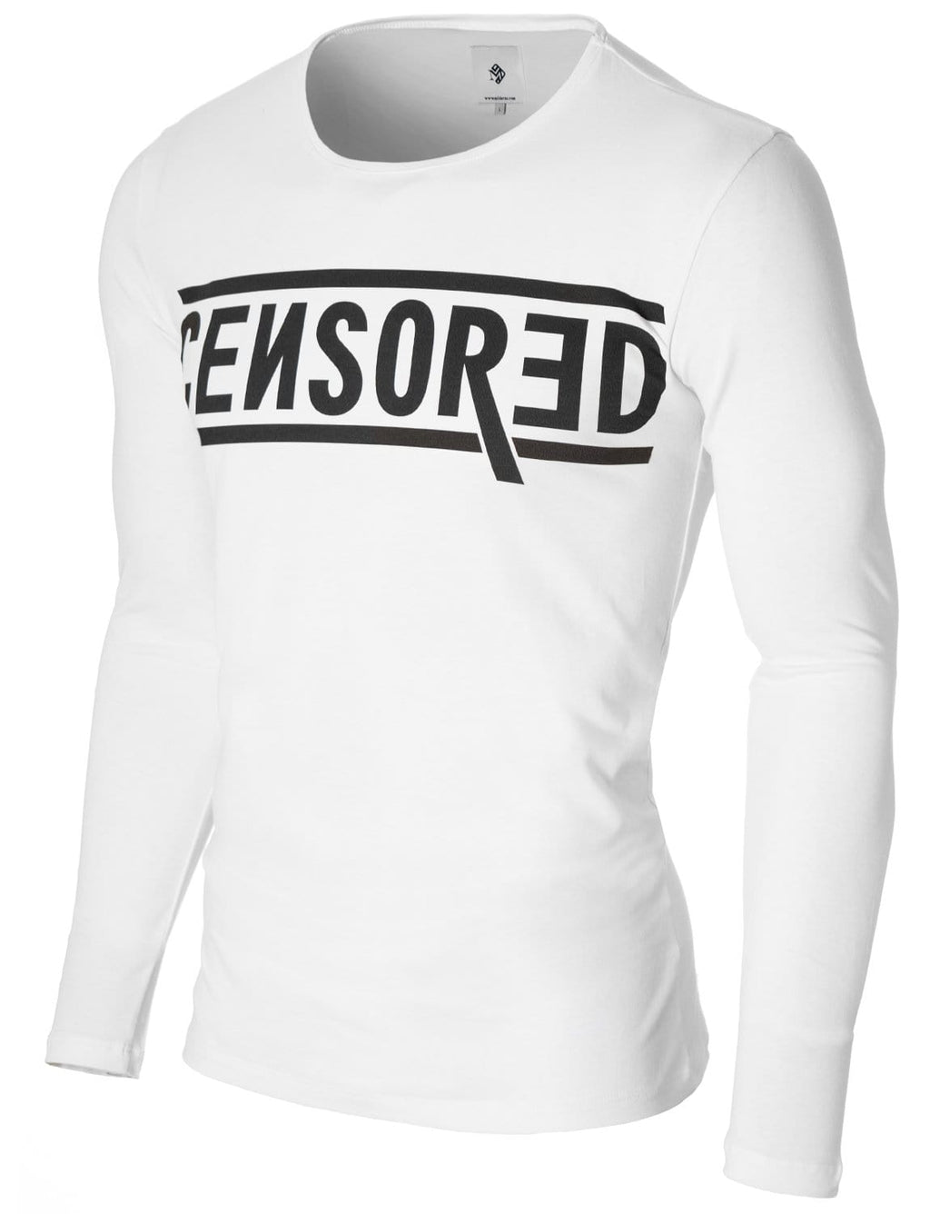 Mens Long Sleeve Censored Print T-shirt White