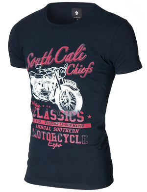 Mens Vintage Motorcycle Graphic Tee Navy (MOD1027RN)