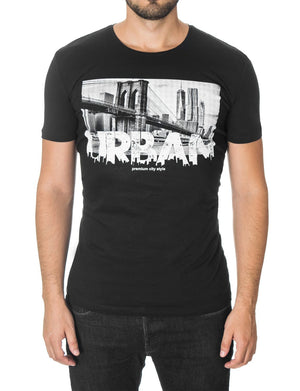 Mens New York Urban Graphic T-shirt Black (MOD1034RN)