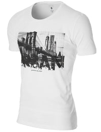 Mens New York Urban Graphic T-shirt White (MOD1034RN)