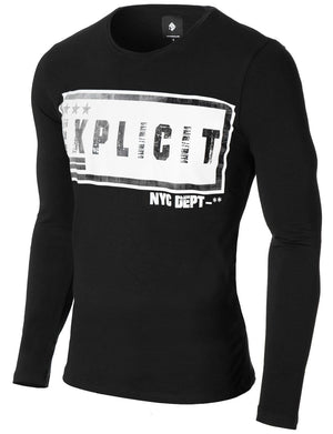 Mens Long Sleeve Urban Print T-shirt Black