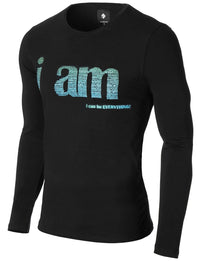 Mens Long Sleeve Slogan Print T-shirt Black