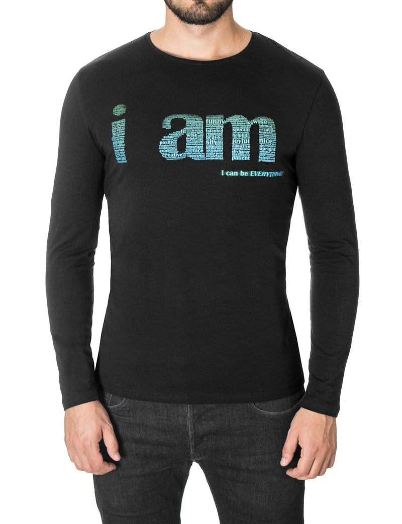 Mens Long Sleeve Slogan Print T-shirt Black (MOD1040LS)