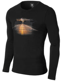 "Mens Long Sleeve Slogan ""Find Your Way"" T-shirt Black"