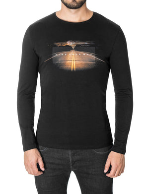 "Mens Long Sleeve Slogan ""Find Your Way"" T-shirt Black (MOD1044LS)"