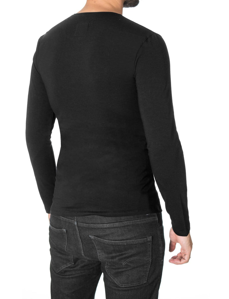 "Mens Long Sleeve Slogan ""Just Be Yourself"" T-shirt Black (MOD1045LS)"