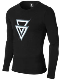 Mens Long Sleeve Asymmetric Triangle Graphic T-shirt Black