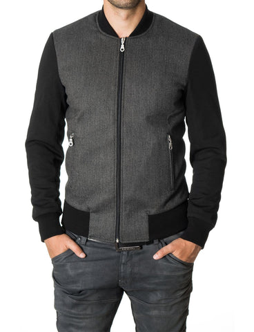 Mens bomber jacket varsity college casual outerwear black (MOD11250J) - MODERNO