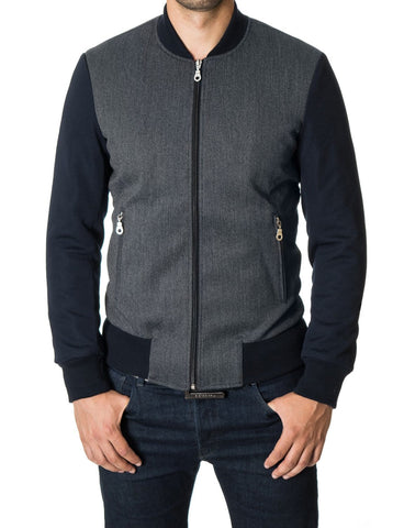 Mens bomber jacket varsity college casual outerwear navy (MOD11250J) - MODERNO