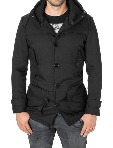 Mens casual winter parka coat black (MOD13533C) - MODERNO