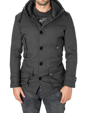 Mens casual winter parka coat charcoal (MOD13533C) - MODERNO