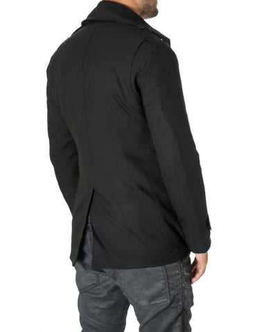 Mens slim fit double-breasted winter coat black (MOD13538C) - MODERNO