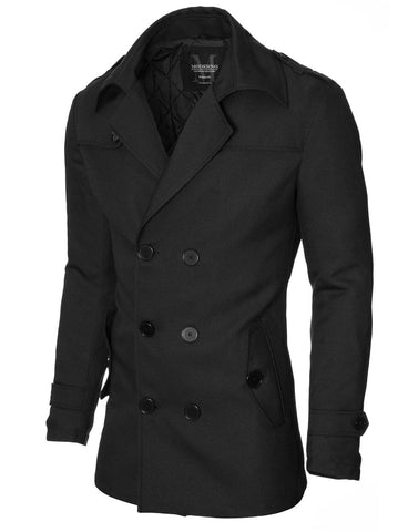Mens slim fit double-breasted winter coat black (MOD13538C)