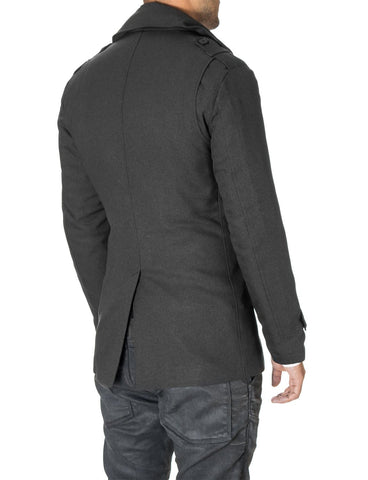 Mens slim fit double-breasted winter coat charcoal (MOD13538C) - MODERNO