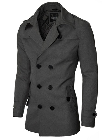 Mens slim fit double-breasted winter coat charcoal (MOD13538C)