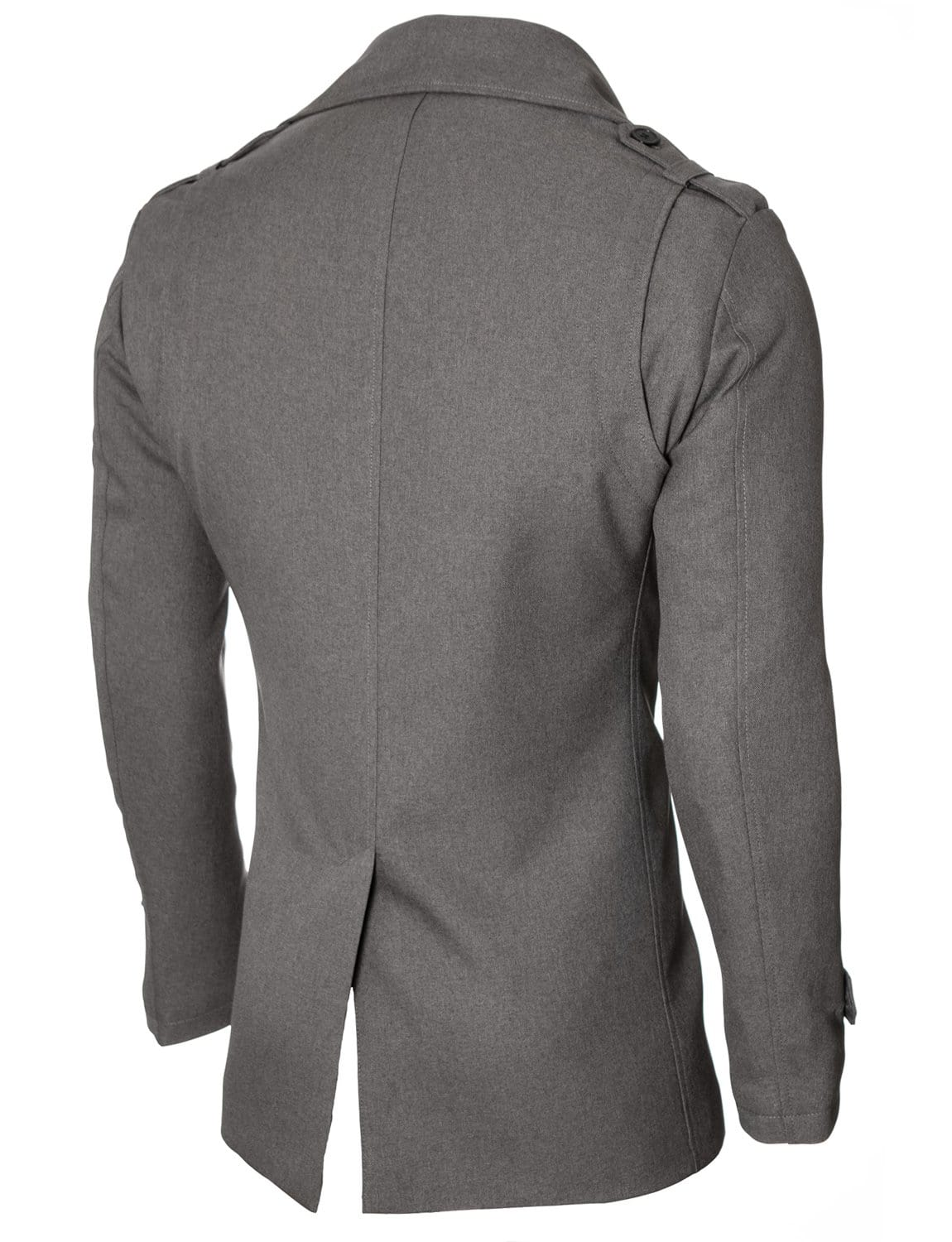 Mens slim fit double-breasted winter coat gray (MOD13538C)