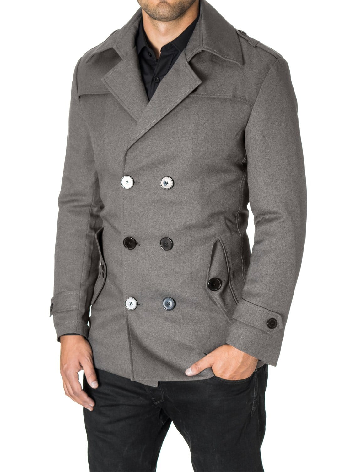 Mens slim fit double-breasted winter coat gray (MOD13538C) - MODERNO