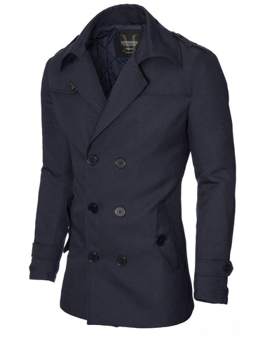 Mens slim fit double-breasted winter coat navy blue (MOD13538C)