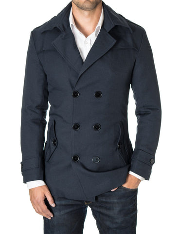 Mens slim fit double-breasted winter coat navy blue (MOD13538C) - MODERNO