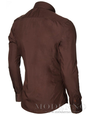 Mens casual shirt brown (MOD1413LS) - MODERNO