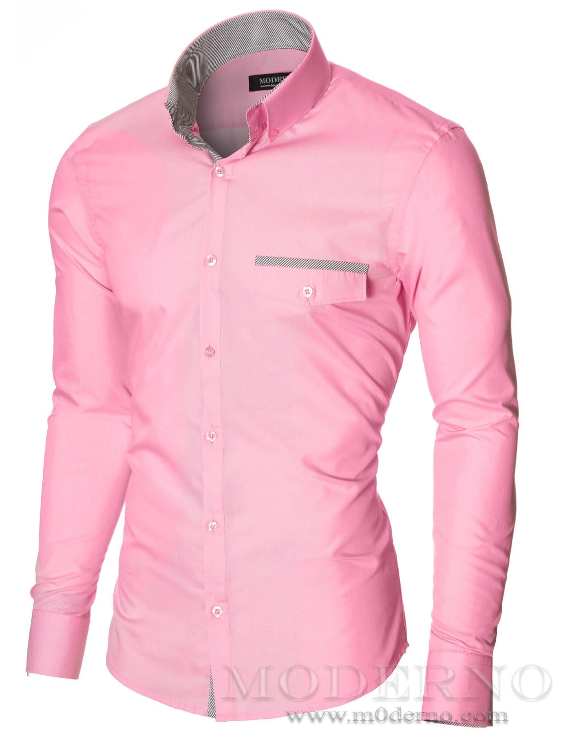 Mens Casual Button Down Pink Shirt With Fake Pocket By Moderno