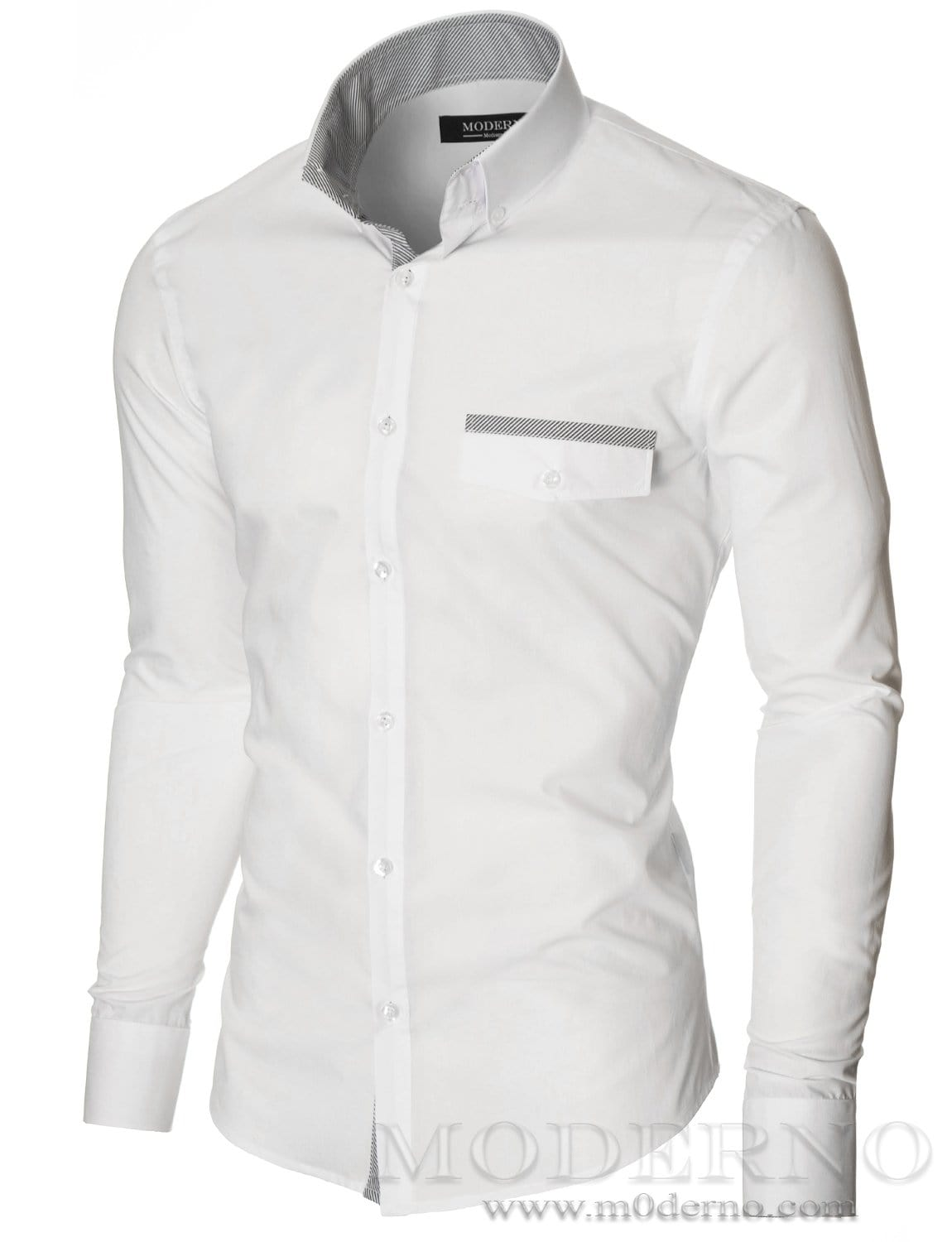 Mens Casual Button Down White Shirt With Fake Pocket By