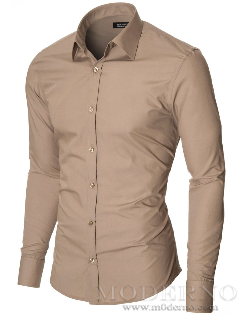 Mens dress shirt beige (MOD1426LS) - MODERNO
