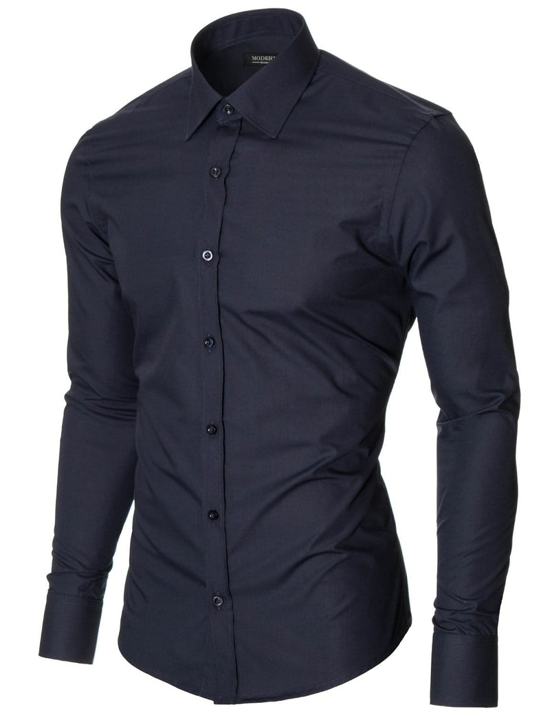 Mens slim fit classic collar long sleeve dress shirt navy (MOD1426LS)