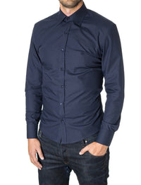 Mens slim fit classic collar dress shirt navy (MOD1426LS) - MODERNO