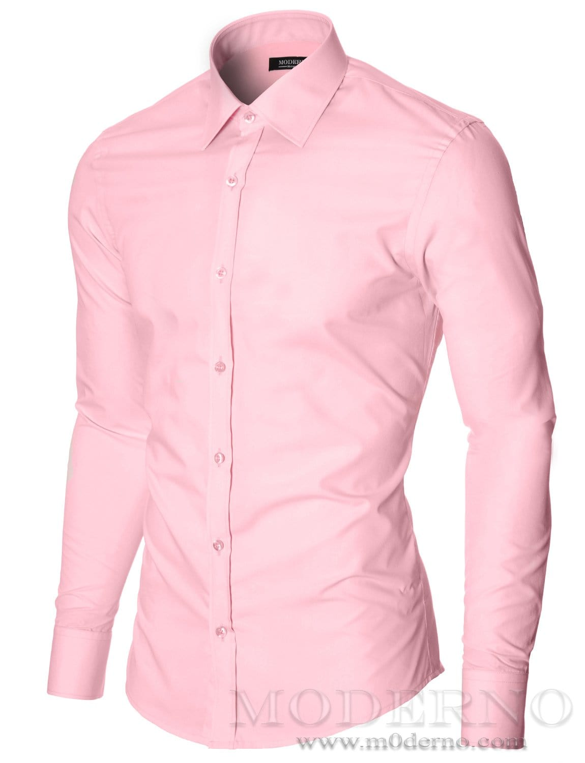 Mens Pink Dress Shirt With Classic Collar By Moderno