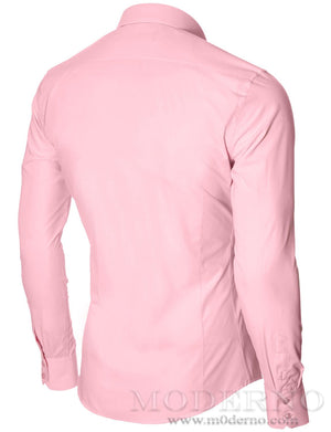 Mens dress shirt pink (MOD1426LS) - MODERNO