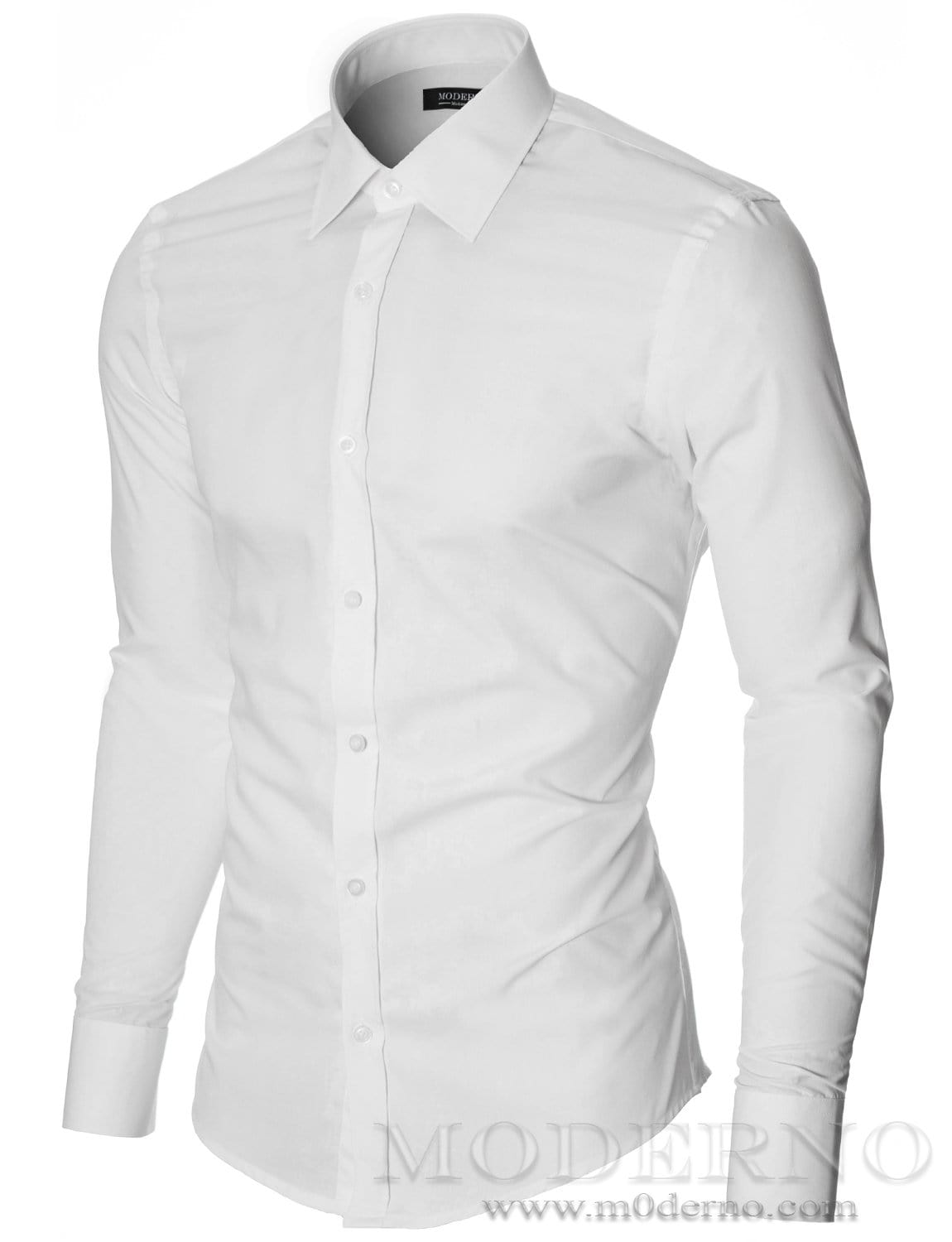 Mens dress shirt white (MOD1426LS) - MODERNO