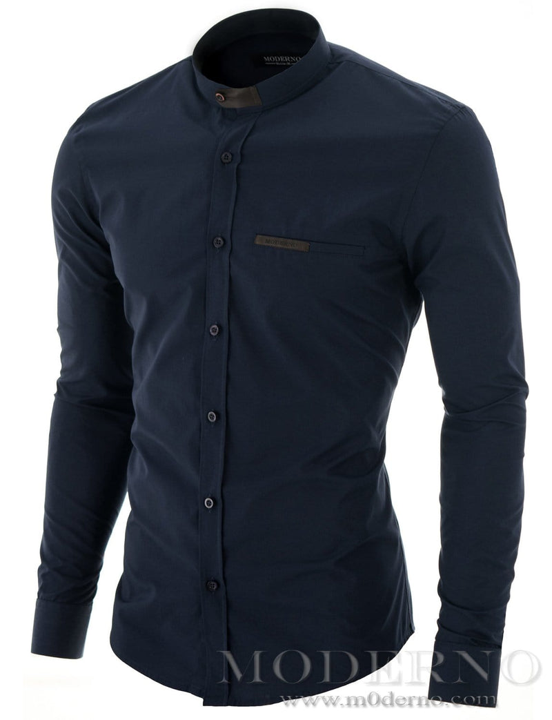 Mens dress shirt navy (MOD1427LS) - MODERNO