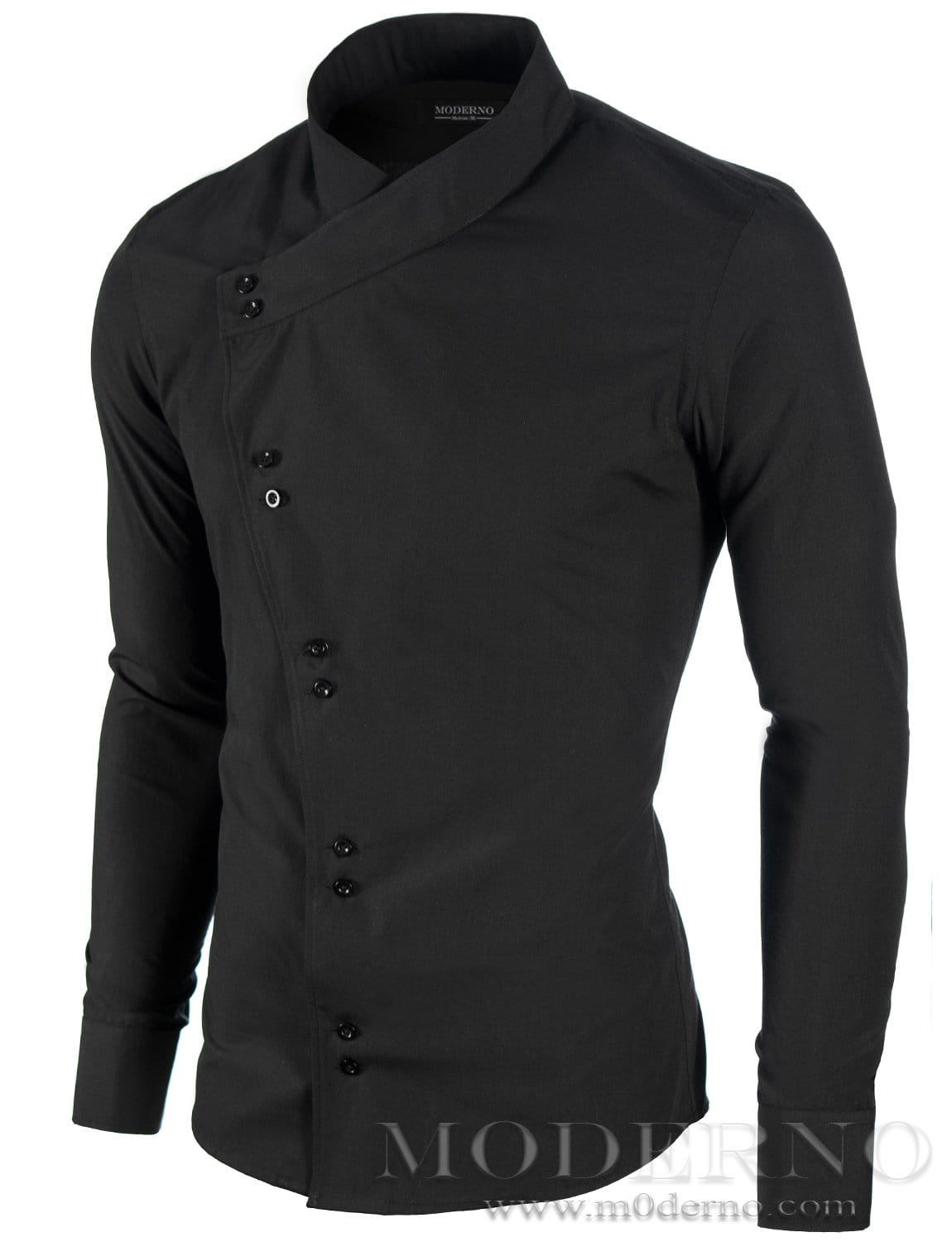 Mens button down black shirt with asymmetric closure by for Mens button down shirts