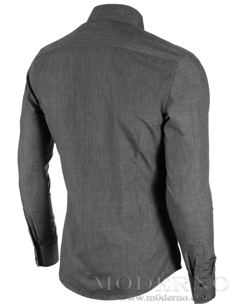 Mens button-down shirt dark gray (MOD1430LS) - MODERNO