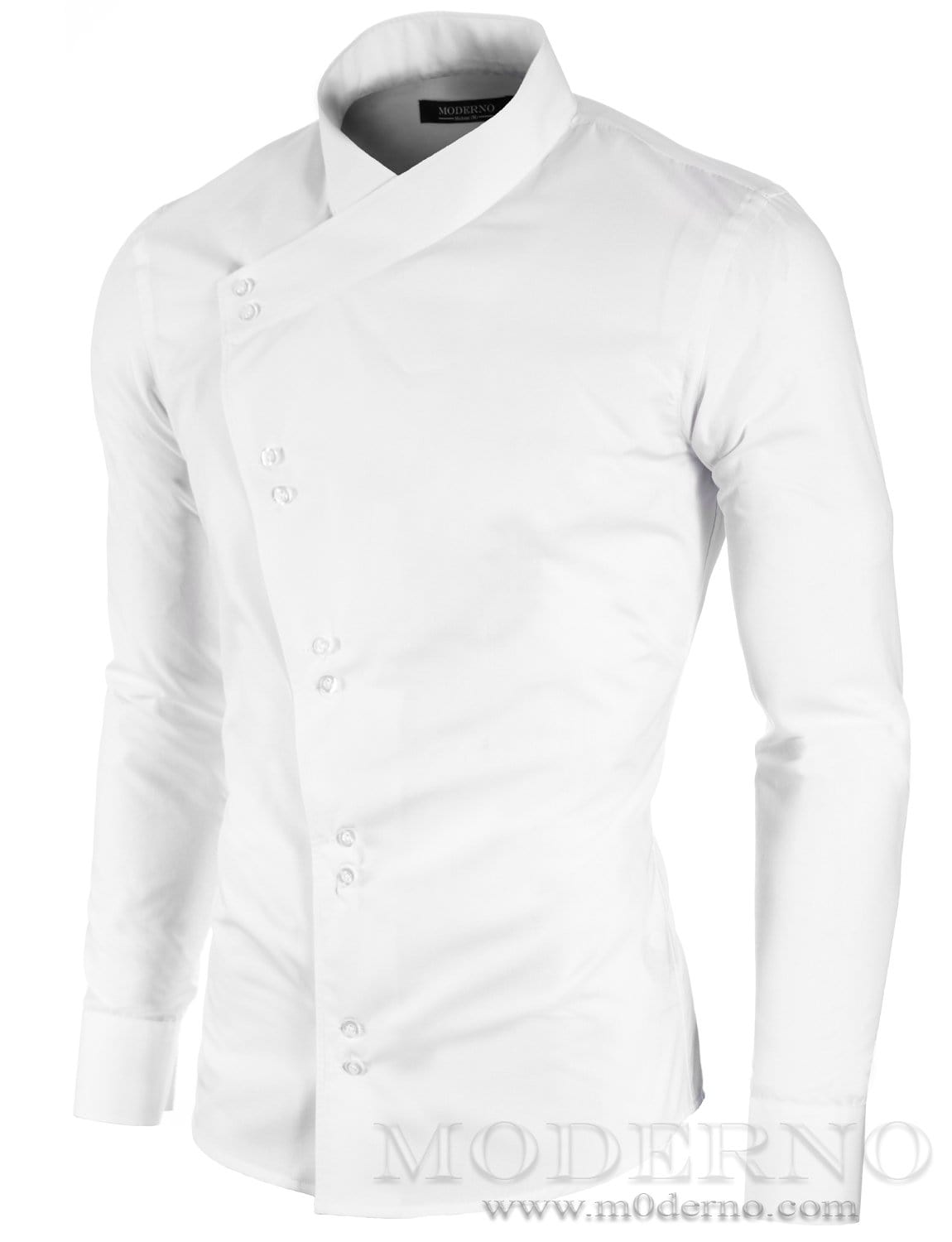 Mens button-down shirt white (MOD1430LS) - MODERNO