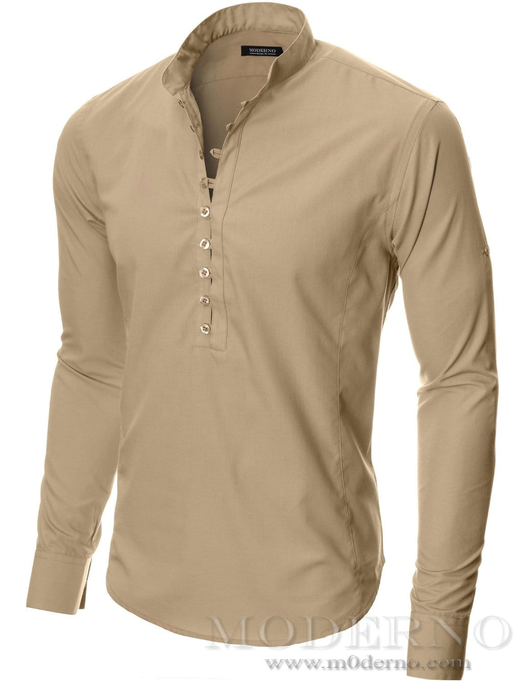 Mens button-down shirt beige (MOD1431LS) - MODERNO