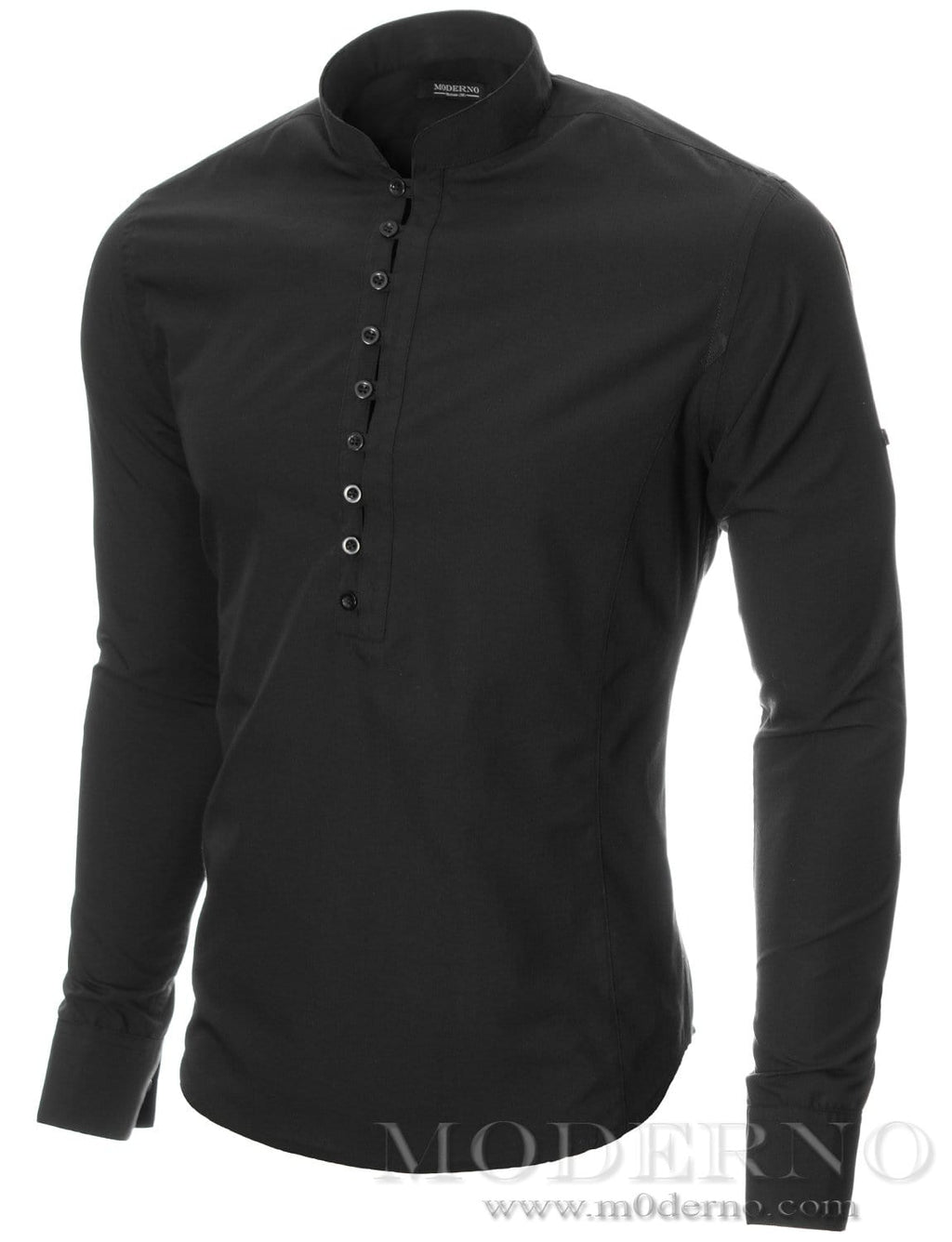 Mens button-down shirt black (MOD1431LS) - MODERNO