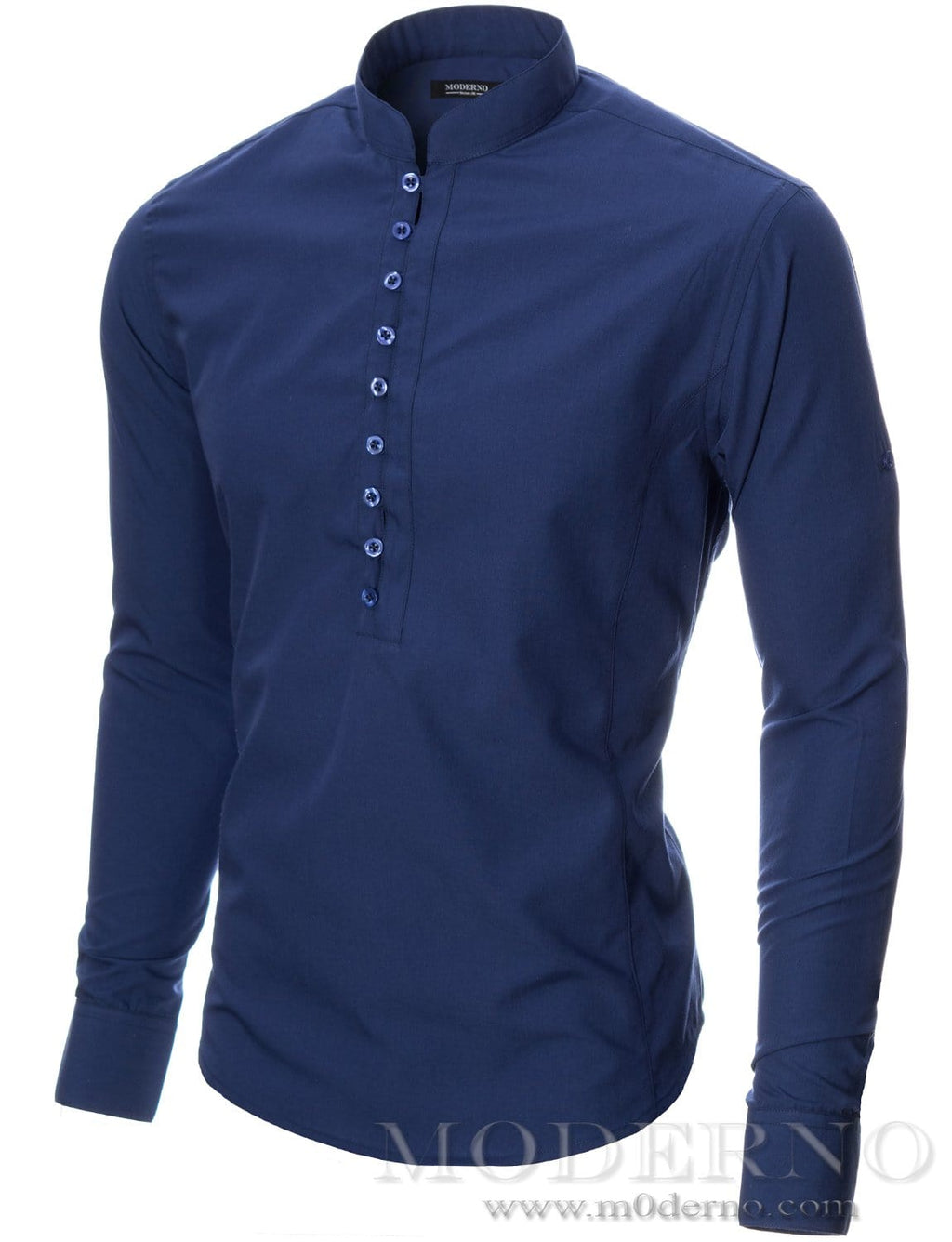 Mens button-down shirt blue (MOD1431LS) - MODERNO