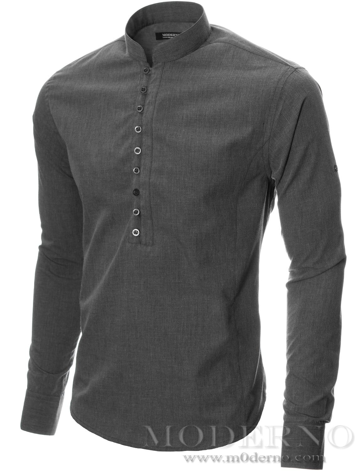 Mens button-down shirt charcoal (MOD1431LS) - MODERNO