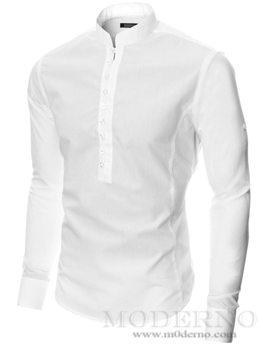 Mens button-down shirt white (MOD1431LS) - MODERNO