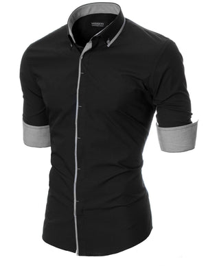 Men's slim fit long sleeve button down dress shirt black (MOD1445LS)