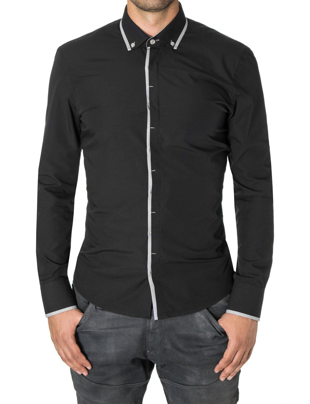 Mens button-down shirt black (MOD1445LS) - MODERNO