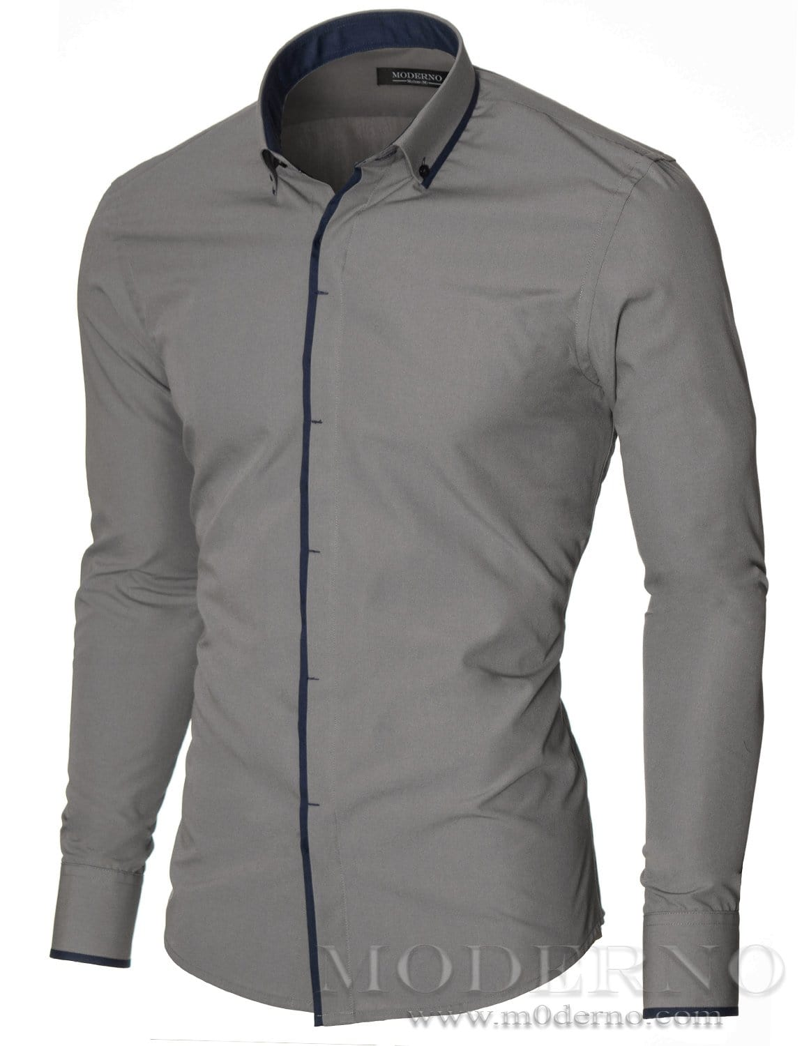 Mens button down gray shirt with contrast band by moderno for Mens grey button down dress shirt