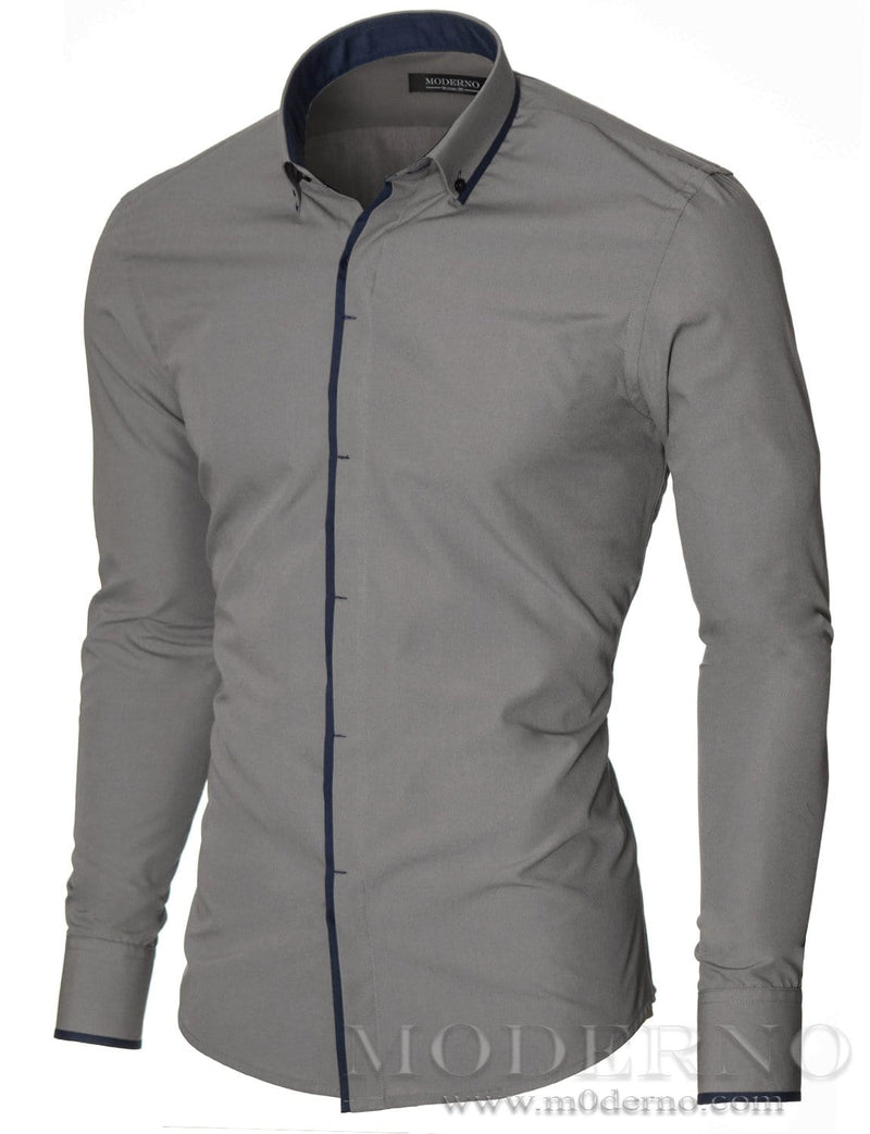 Mens button-down shirt gray (MOD1445LS) - MODERNO