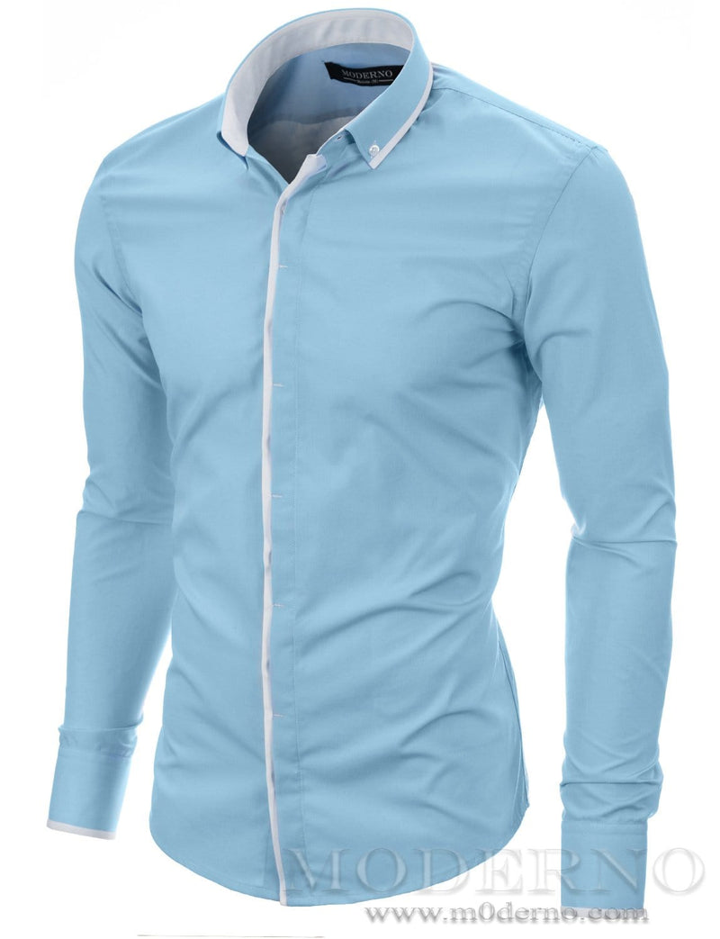 Mens button-down shirt sky (MOD1445LS) - MODERNO
