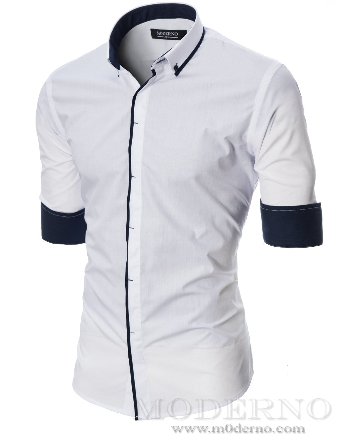 Mens button-down shirt white (MOD1445LS) - MODERNO