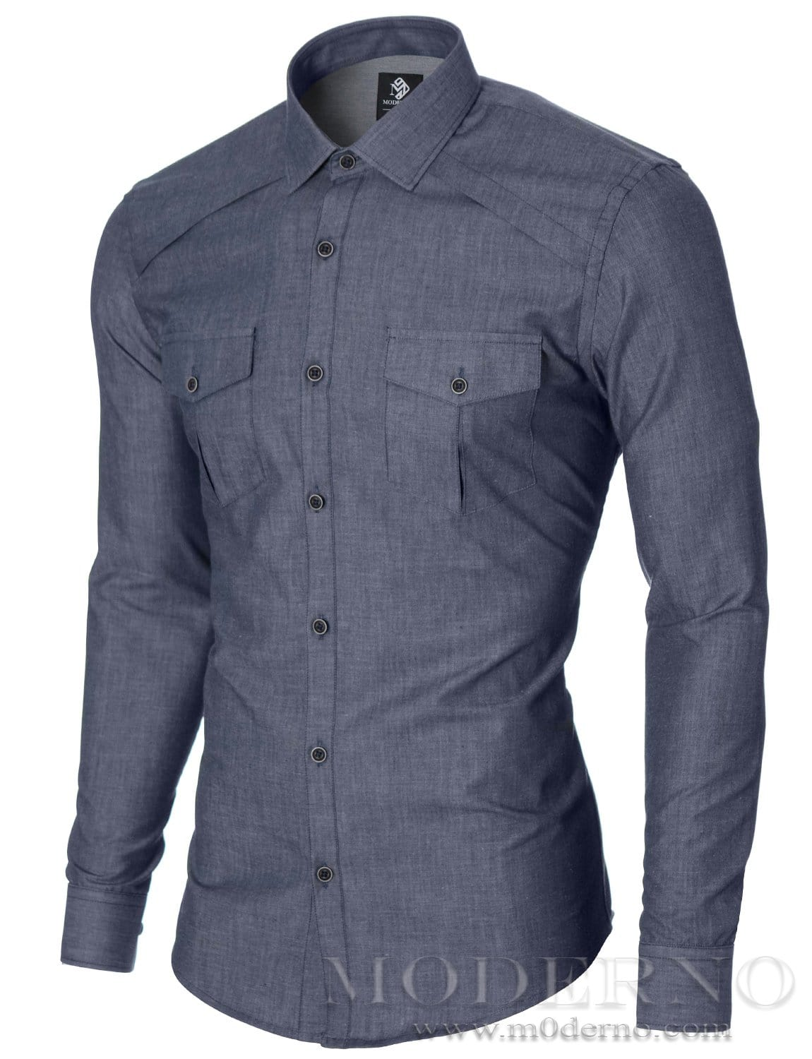 Mens slim fit casual button up shirt whit 2 pockets blue for Button up mens shirt