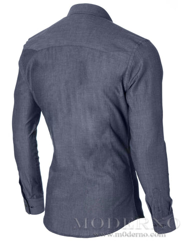 Mens slim fit casual button-up shirt whit 2 pockets blue (MOD1446LS) - MODERNO