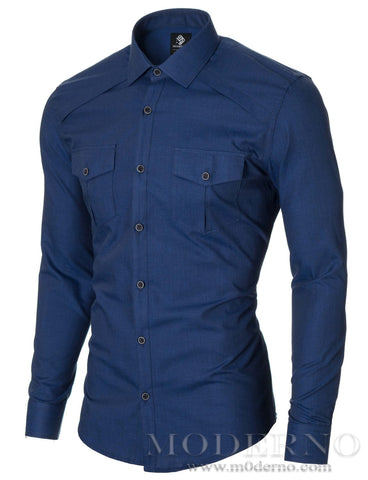 Mens slim fit casual button-up shirt whit 2 pockets navy (MOD1446LS) - MODERNO